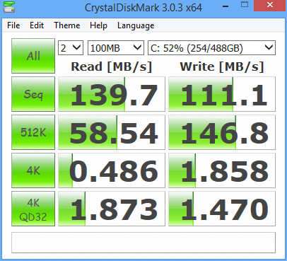 WD Blue 1TB 7200 RPM DiskMark Results